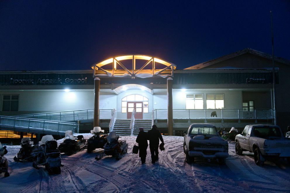Guests arrive at Noorvik School. Noorvik School planned to host the inauguration of Gov.-elect Mike Dunleavy on December 3, 2018. (Marc Lester / ADN)
