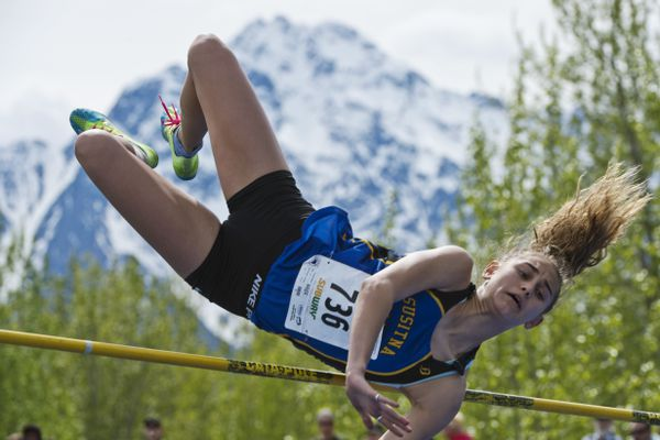 Maya Mossanen of Su Valley competes in high jump. Palmer High School hosted the 2018 State Track and Field Championships on May 25, 2018. (Marc Lester / ADN)