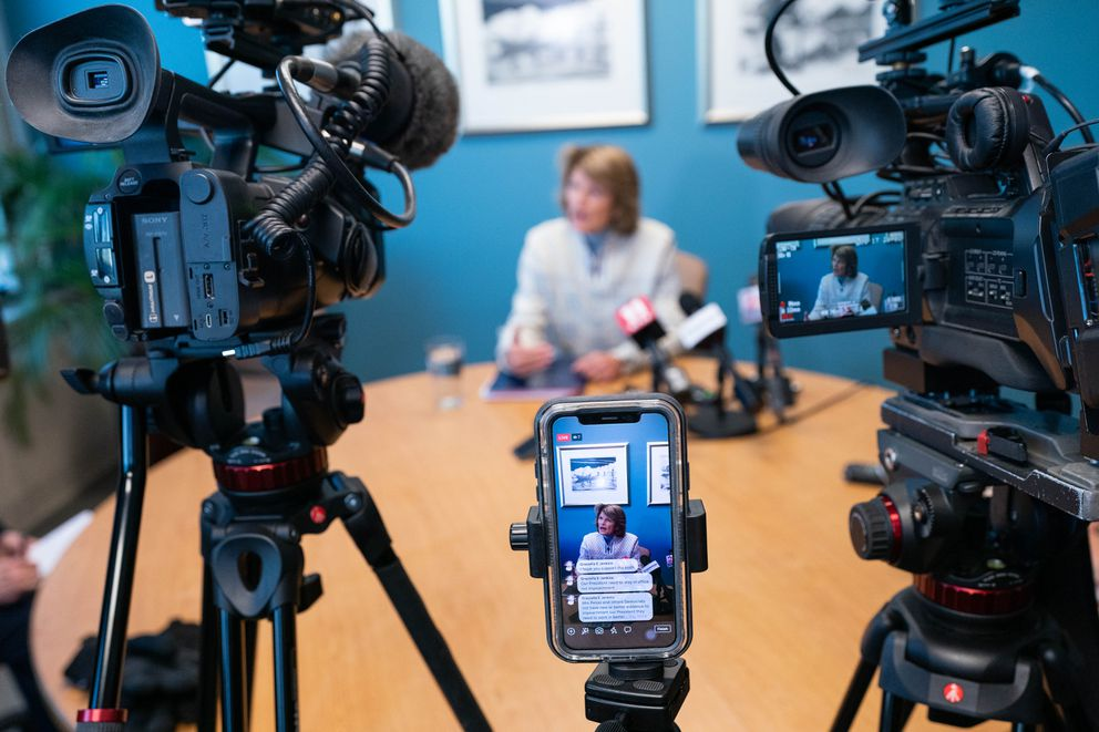 U.S. Sen. Lisa Murkowski, R-Alaska, speaks with news media in her Anchorage office on Jan. 18, 2020. (Loren Holmes / ADN)