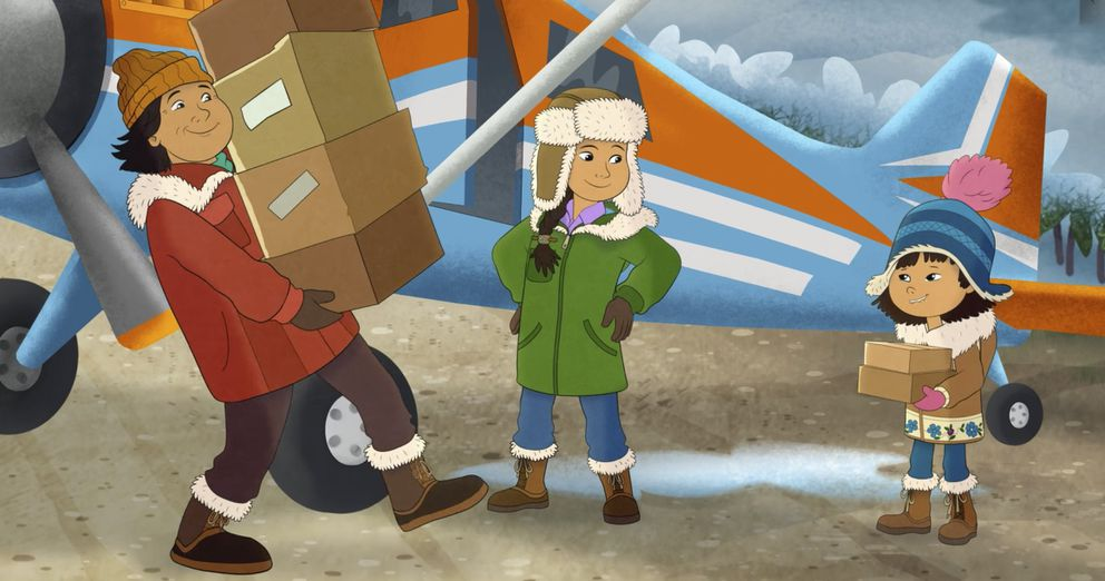 This image released by PBS shows characters, from right, Molly, voiced by Sovereign Bill, her mother, voiced by Jules Koostachin, and father, voiced by Ron Harris, in a scene from the animated series 'Molly of Denali. ' The animated show, which highlights the adventures of a 10-year-old Athabascan girl, Molly Mabray, premieres July 15 on PBS Kids. (PBS via AP)