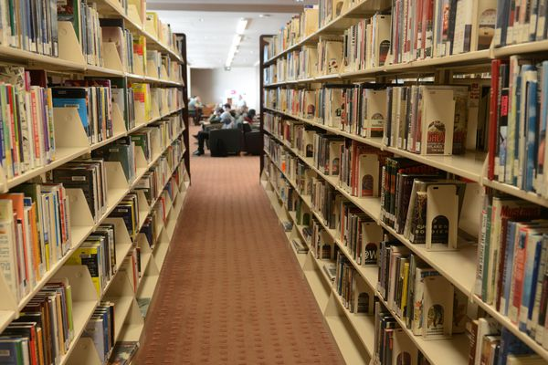 The Loussac Library will soon have a full time counselor to help patrons with issues they may have. Photographed in Anchorage, AK on Tuesday June 14, 2016. (Bob Hallinen / Alaska Dispatch News)