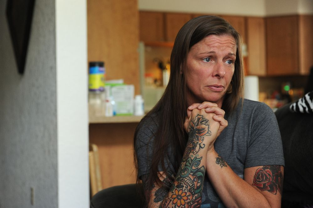 Bob Hallinen / Alaska Dispatch News Terria Walters talks about the death of her son, Christopher Seaman, on Tuesday, June 30, 2015, in her Palmer, AK home, from suspected foul play. Seaman was found in his car in Big Lake, AK. 150630