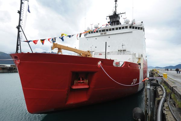 The U.S. Coast Guard Cutter Healy, a 420-foot ice breaker and scientific research vessel based in Seattle, was open for public tours while moored in Seward as the Coast Guard celebrated its 224th birthday on Monday, August 4, 2014. (Bill Roth / ADN)