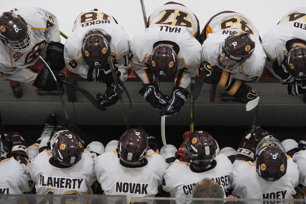 The Dimond Lynx rest during a timeout late in the third period en route to defeating the West Eagles 3-2 during the opening game of the state hockey championships at the Menard Center in Wasilla on Thursday, Feb. 7, 2019. (Bill Roth / ADN)