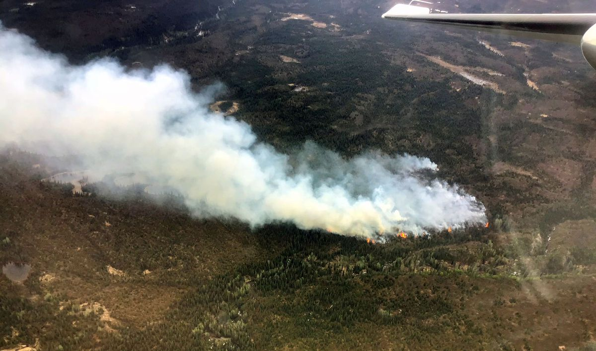 An aerial photo of the Prairie Fire taken around 4:30 p.m. on Monday, June 4, 2018. (Jason Jordet/Alaska Division of Forestry)