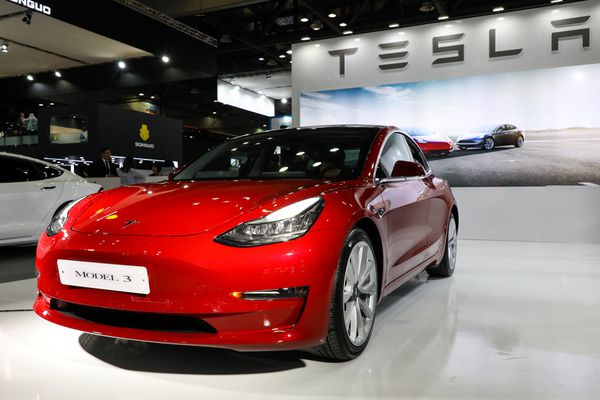 A Tesla Inc. Model 3 electric vehicle on display at the Seoul Motor Show on March 28, 2019. MUST CREDIT: SeongJoon Cho, Bloomberg
