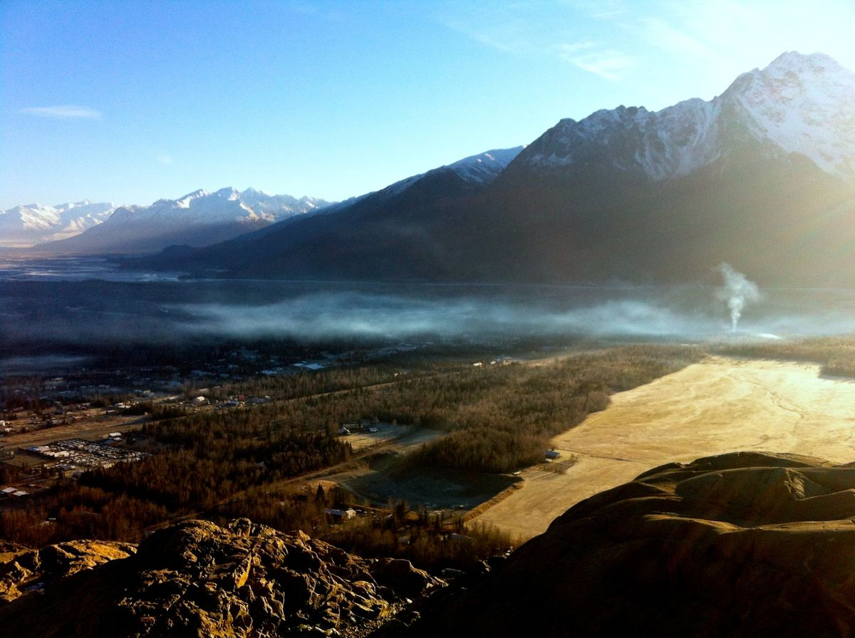 Smoke blankets Butte in November 2013 as seen from the top of Bodenburg Butte. (Patty Sullivan / Matanuska-Susitna Borough)