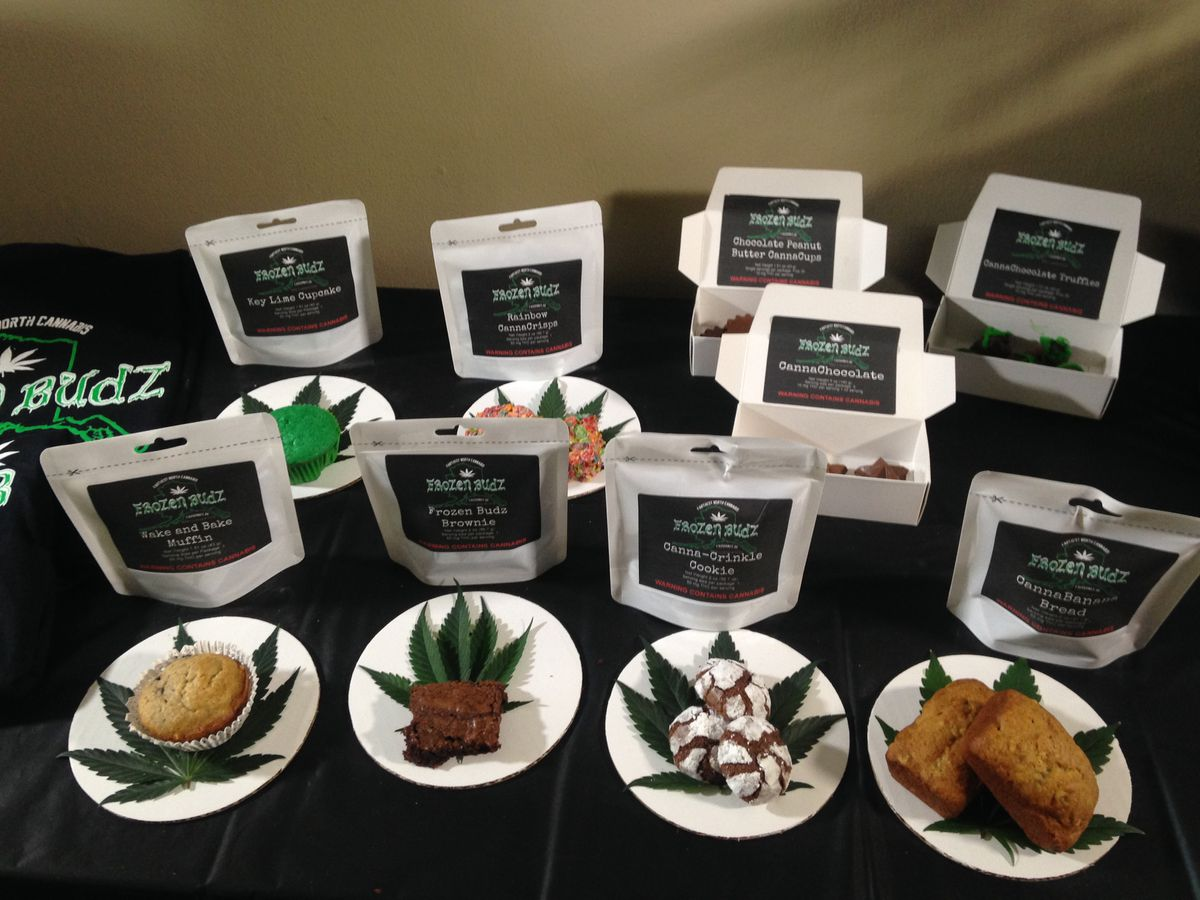 Frozen Budz products displayed at co-owner Destiny Neade's Fairbanks home in May 2016. Some product names were later changed. (Laurel Andrews / ADN)