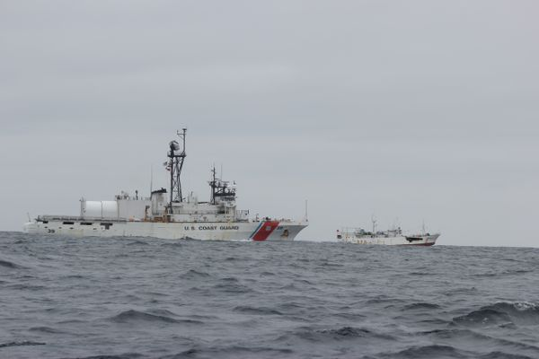 The USCGC Alex Haley (WMEC 39) and crew detain the fishing vessel Run Da after it was suspected of high seas drift net fishing in the North Pacific Ocean, 860 miles east of Hokkaido, Japan, June 16, 2018. The Alex Haley crew transferred custody of the Run Da and its crew to the People's Republic of China Coast Guard. (U.S. Coast Guard photo)