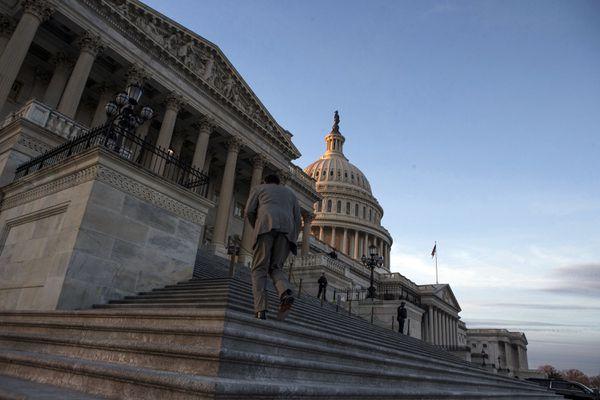 The U.S. Capitol Building at dusk on Jan. 20, 2018, in Washington, D.C. (Tribune Content Agency)