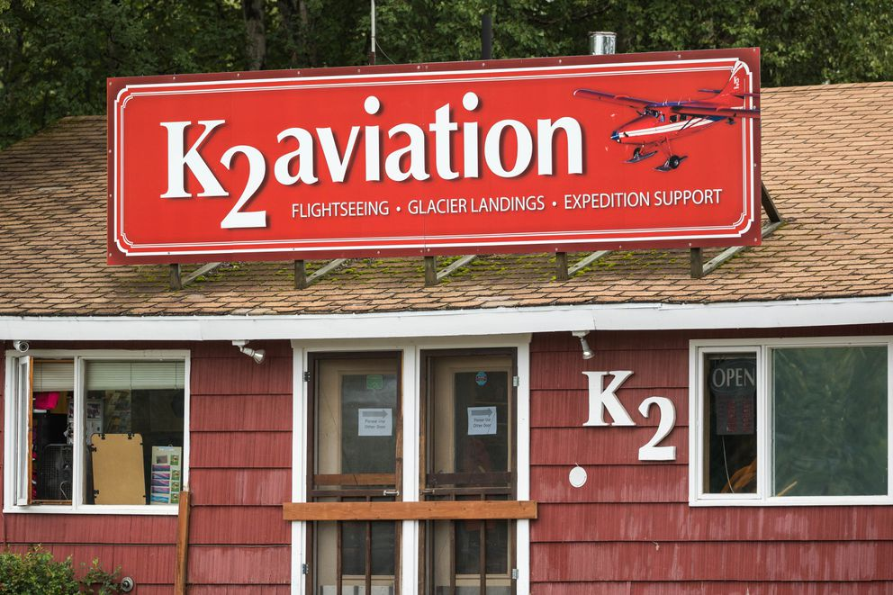 The K2 Aviation office at the Talkeetna airport on Aug. 6, 2018. (Loren Holmes / ADN)