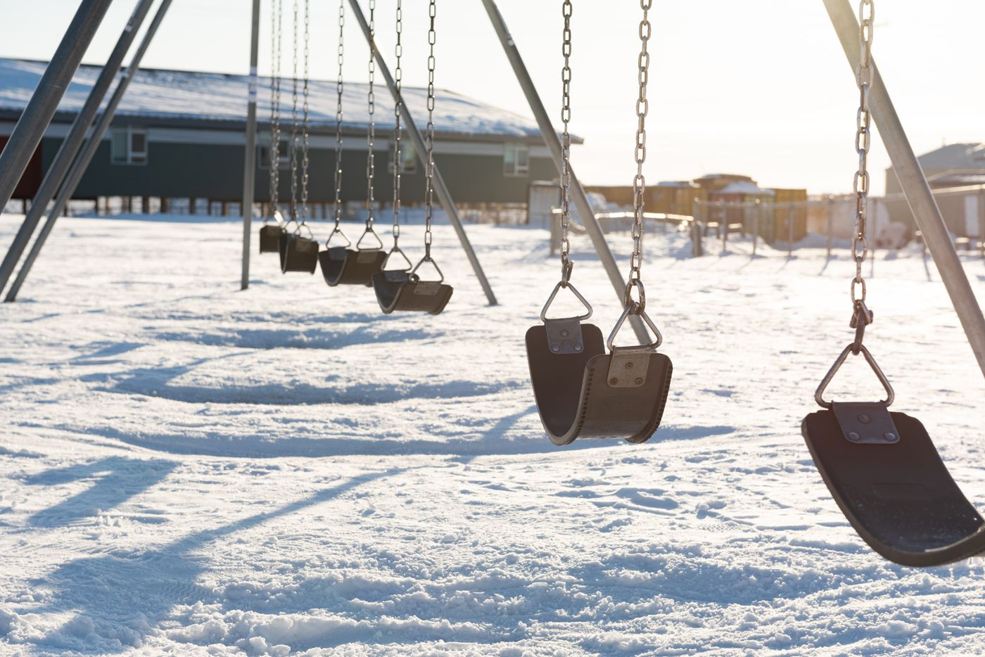Swingset on the playground at Gladys Jung Elementary School in Bethel. (Katie Basile / KYUK)