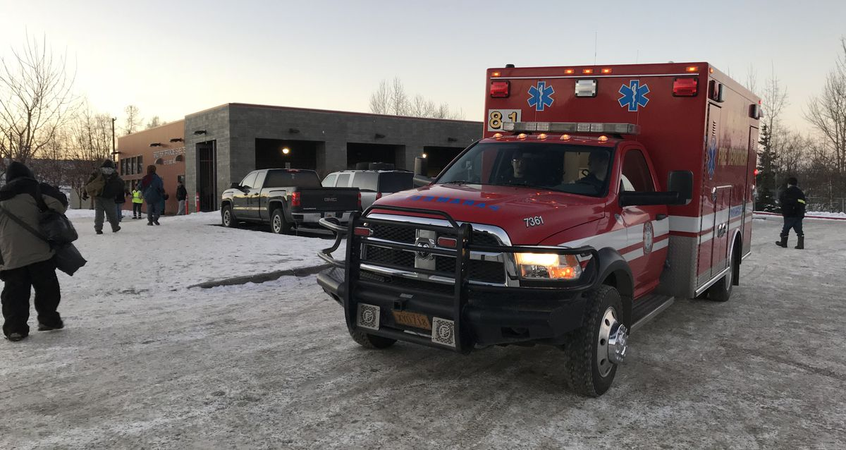 An Anchorage Fire Department paramedic rig leaves the Brother Francis Shelter after responding to a call on Tuesday, Nov. 14, 2017. (Bill Roth / Alaska Dispatch News)