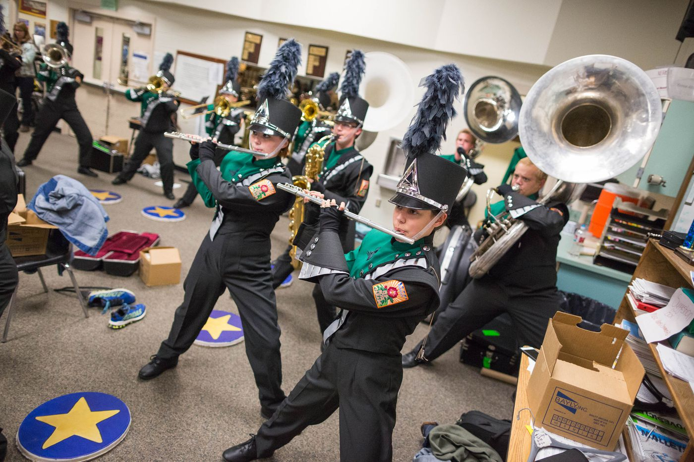 The Colony High School marching band warms up before a performance on Thursday, September 24, 2015. Their group is the only high school marching band in Alaska.
