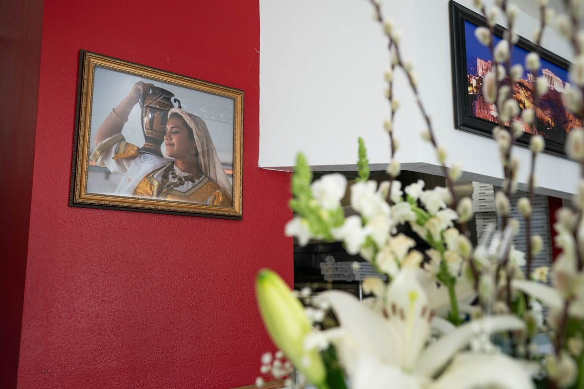A photograph of Penelope Foudeas is displayed at her family's restaurant, Milano's, on Saturday, April 10, 2021 in Anchorage. Foudeas, who was 22, died from injuries in a fall while she was skiing at Alyeska Resort last month. (Loren Holmes / ADN)