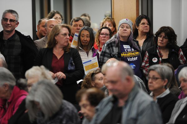 Standing room only at the State House budget input hearing in the Anchorage LIO on Sunday, March 24, 2019. (Bill Roth / ADN)
