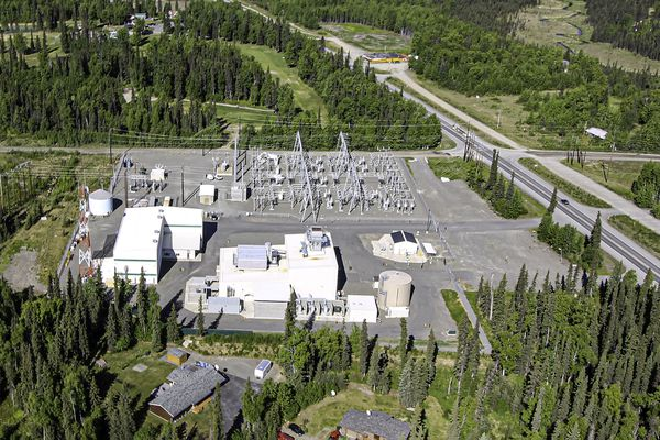 Tesla's industrial batteries would be installed in the open lot at the lower right corner of the power station in Soldotna. (Photo provided by Homer Electric Association, Inc)