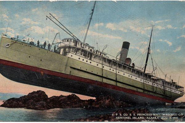 A postcard with an image of the 1910 Princess May wreck. Circa 1915 J. B. Card & Co. of Juneau, Alaska (Photo by David Reamer)