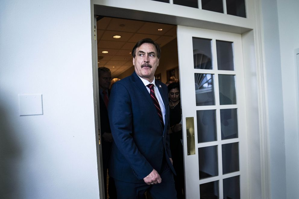 My Pillow CEO Mike Lindell walks out of the White House on March 30, 2020. Washington Post photo by Jabin Botsford