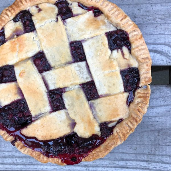 Wild blueberry pie. My friend Tamar totally did the lattice crust. (Julia O'Malley/ADN)