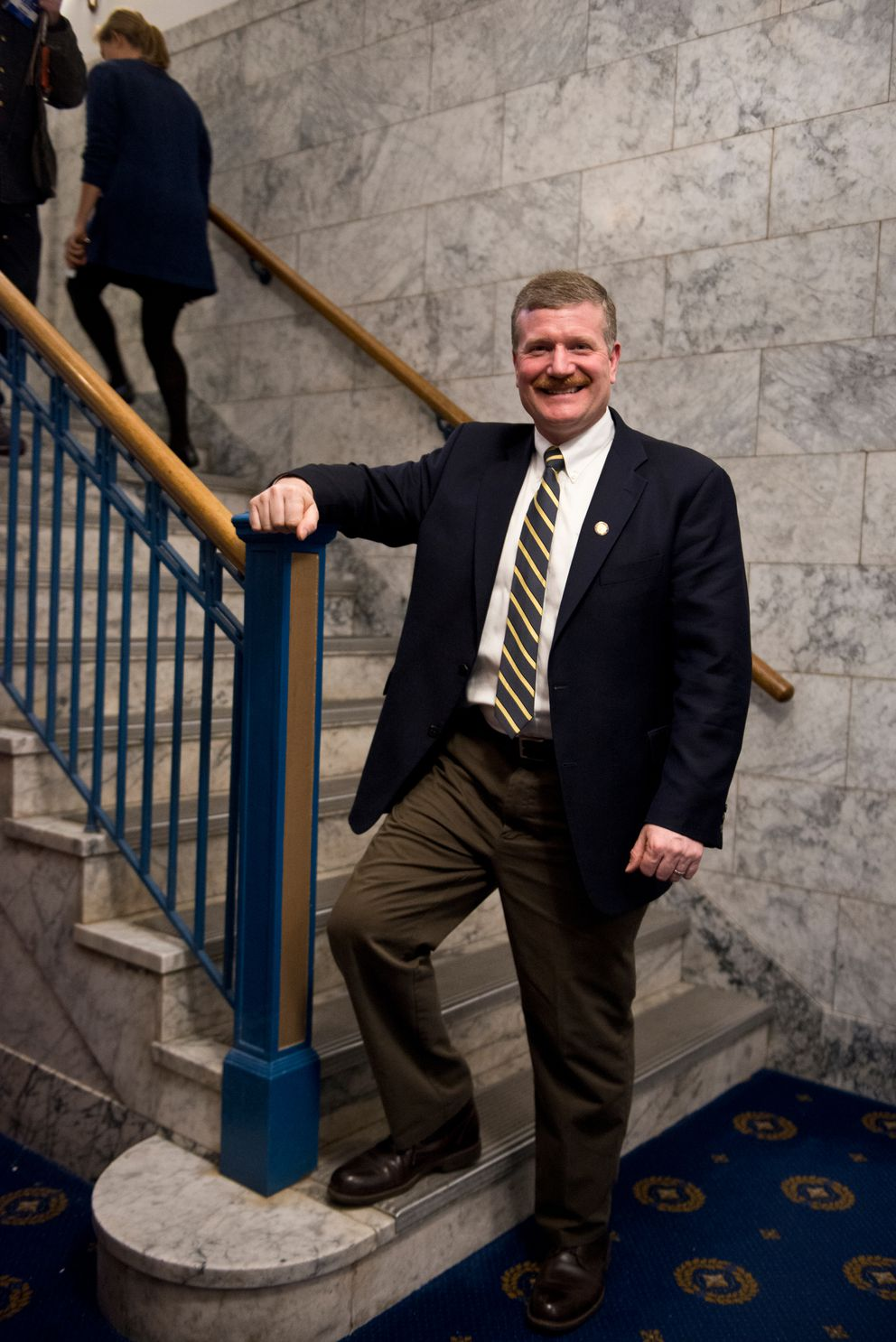 Rep. Chuck Kopp, R-Anchorage, stands in the Capitol last year. (Marc Lester / ADN)