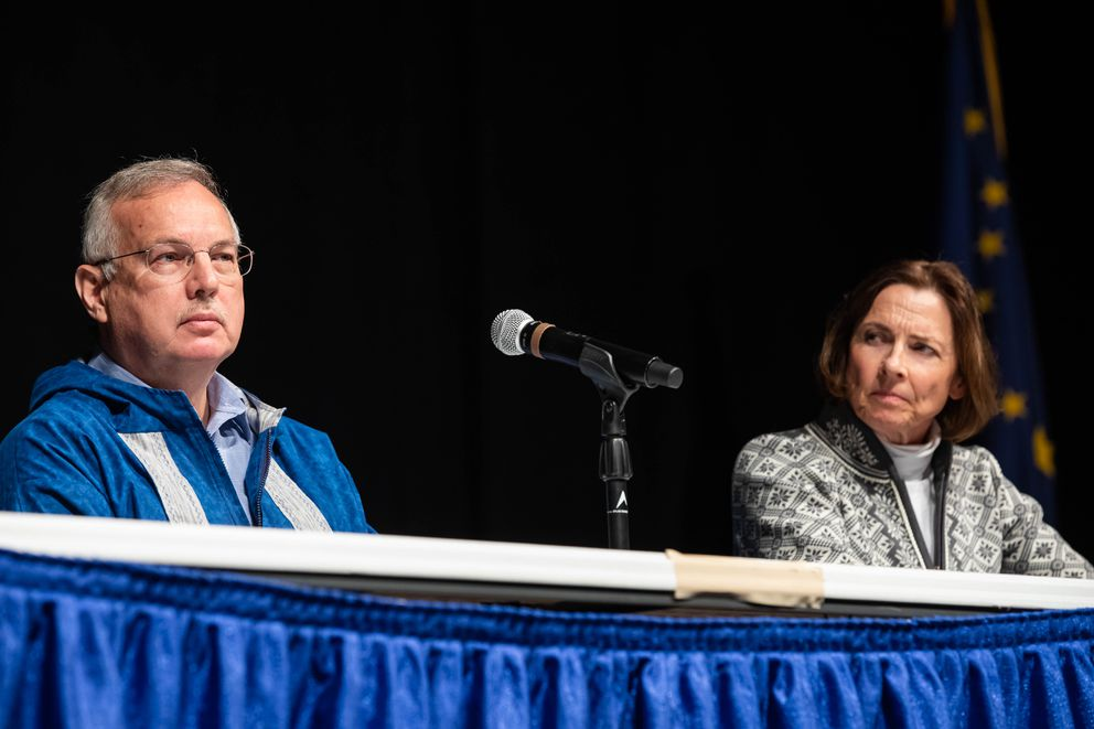 House Speaker Bryce Edgmon, I-Dillingham, and Senate President Cathy Giessel, R-Anchorage, speak Oct. 17, 2019 during the Alaska Federation of Natives convention at the Carlson Center in Fairbanks. (Loren Holmes / ADN archive)