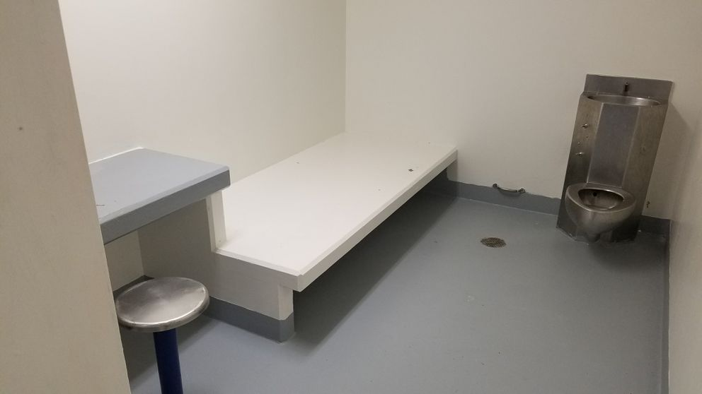 An Anchorage jail cell similar to ones where involuntarily committed psychiatric patients are being held due to lack of space at the Alaska Psychiatric Institute. (Photo provided the Alaska Disability Law Center)