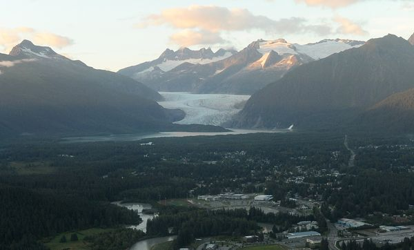 The Mendenhall Valley stretches out to the Mendenhall Glacier in Juneau. (Bob Hallinen / ADN)