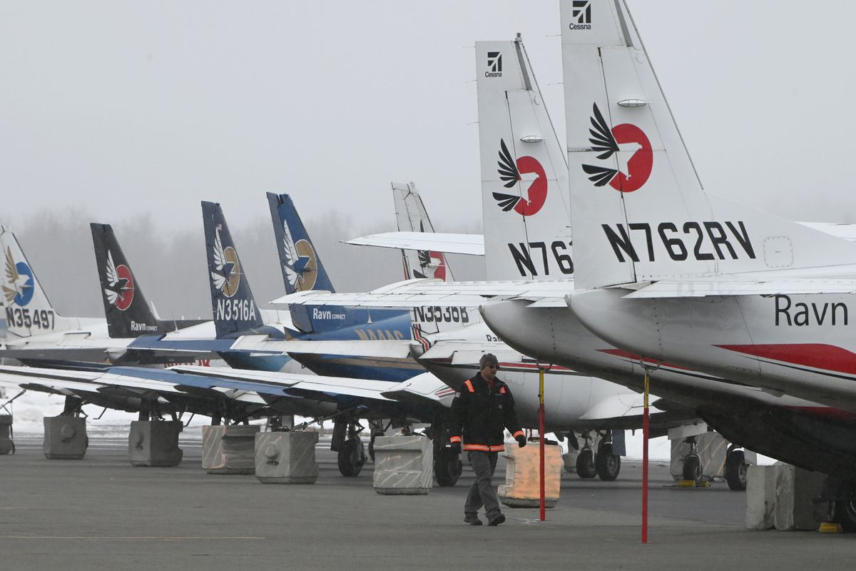 Some of the Ravn Air Group aircraft that serve rural Alaska have been parked at Palmer Municipal Airport on Thursday. (Bill Roth / ADN)