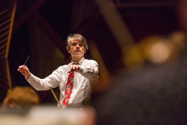 Randall Craig Fleischer conducts the Anchorage Symphony Orchestra during a rehearsal at the Alaska Center for the Performing Arts on Wednesday, November 11, 2015.