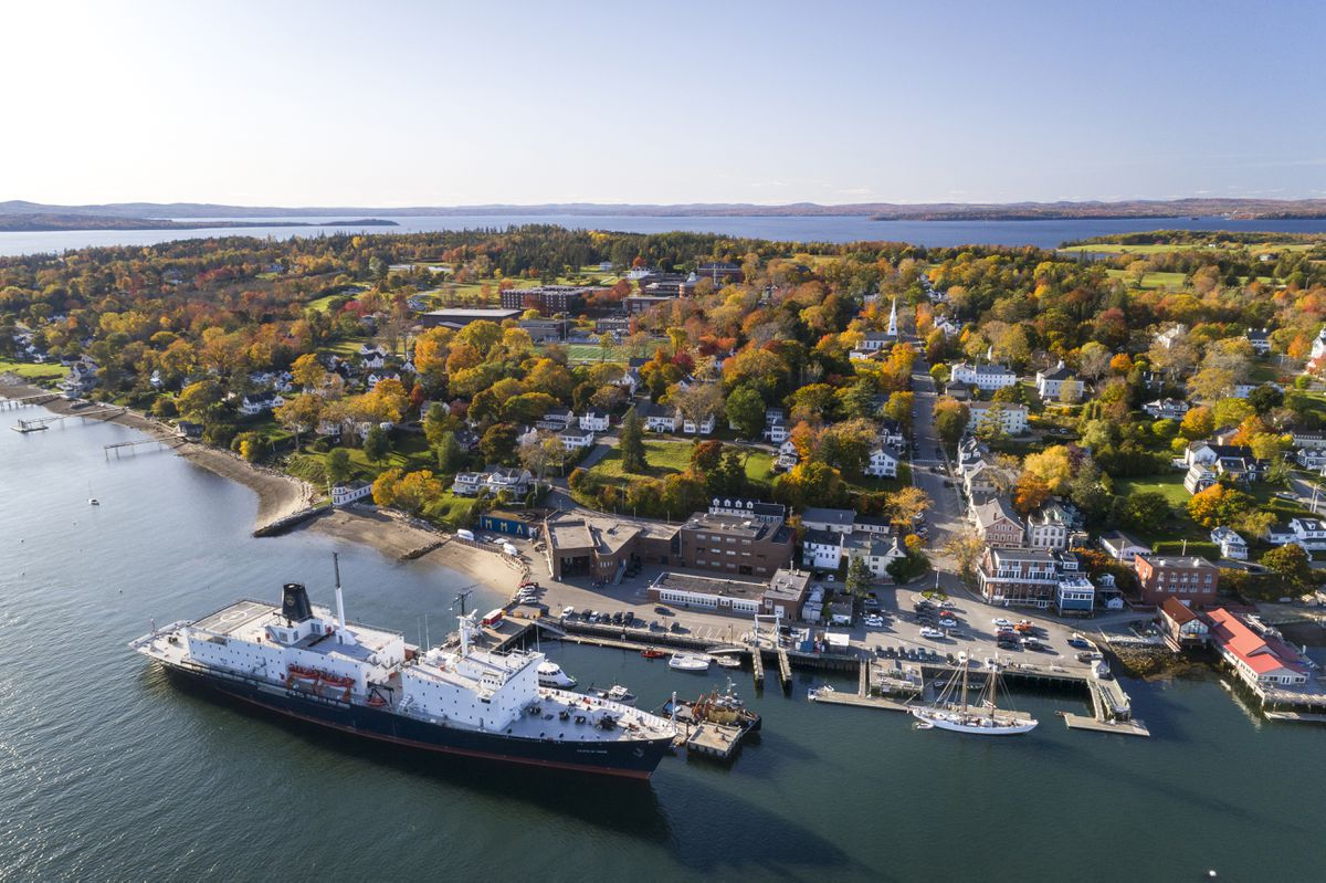 Maine Maritime Academy's campus is seen in an aerial view this fall. (Maine Maritime Academy)