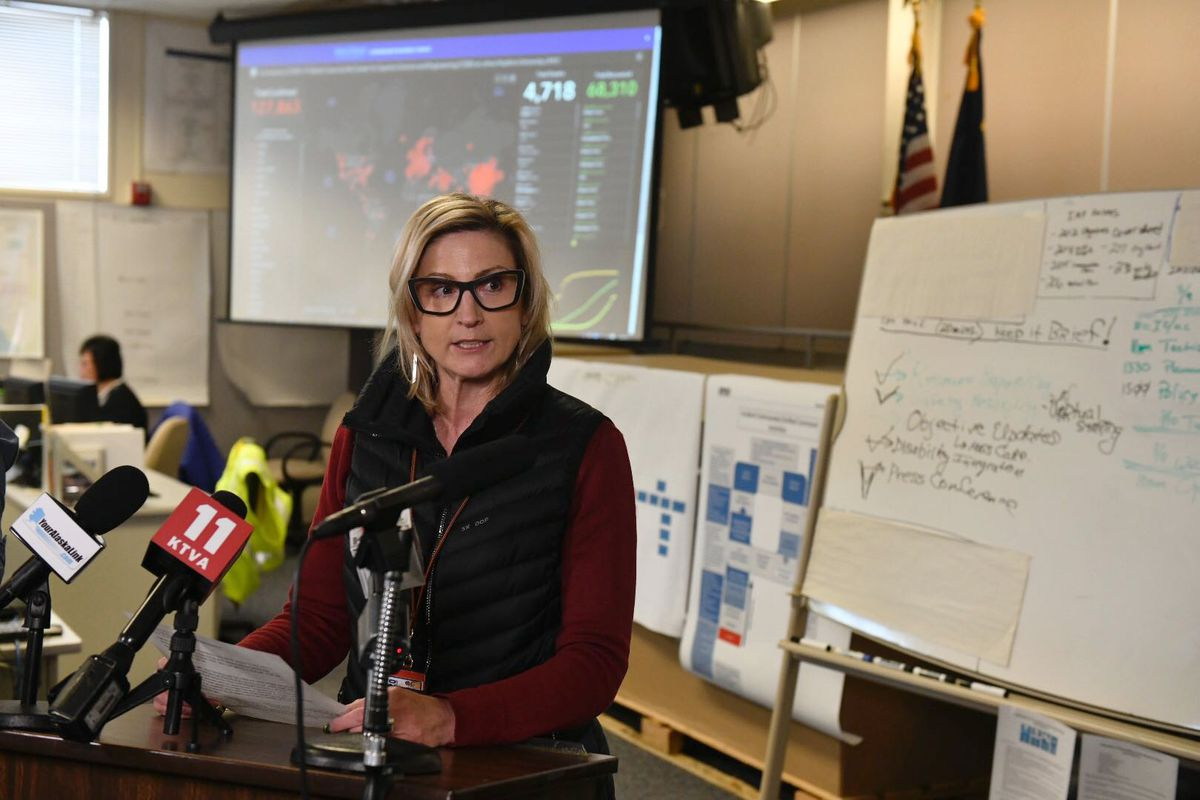 Anchorage School District Superintendent Deena Bishop talks with the media at the Emergency Operations Center Thursday, March 12, 2020. (Marc Lester / ADN)