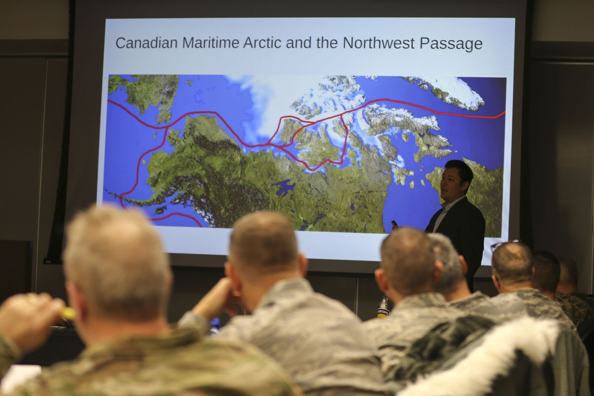 Sam Alexander, an instructor with the University of Alaska Fairbanks, presents information on Arctic Domain and Security Orientation during the 2017 National Guard Arctic Summit at the Mission Command Training Center at Fort Wainwright. (Staff Sgt. Balinda O'Neal Dresel / U.S. Army National Guard)