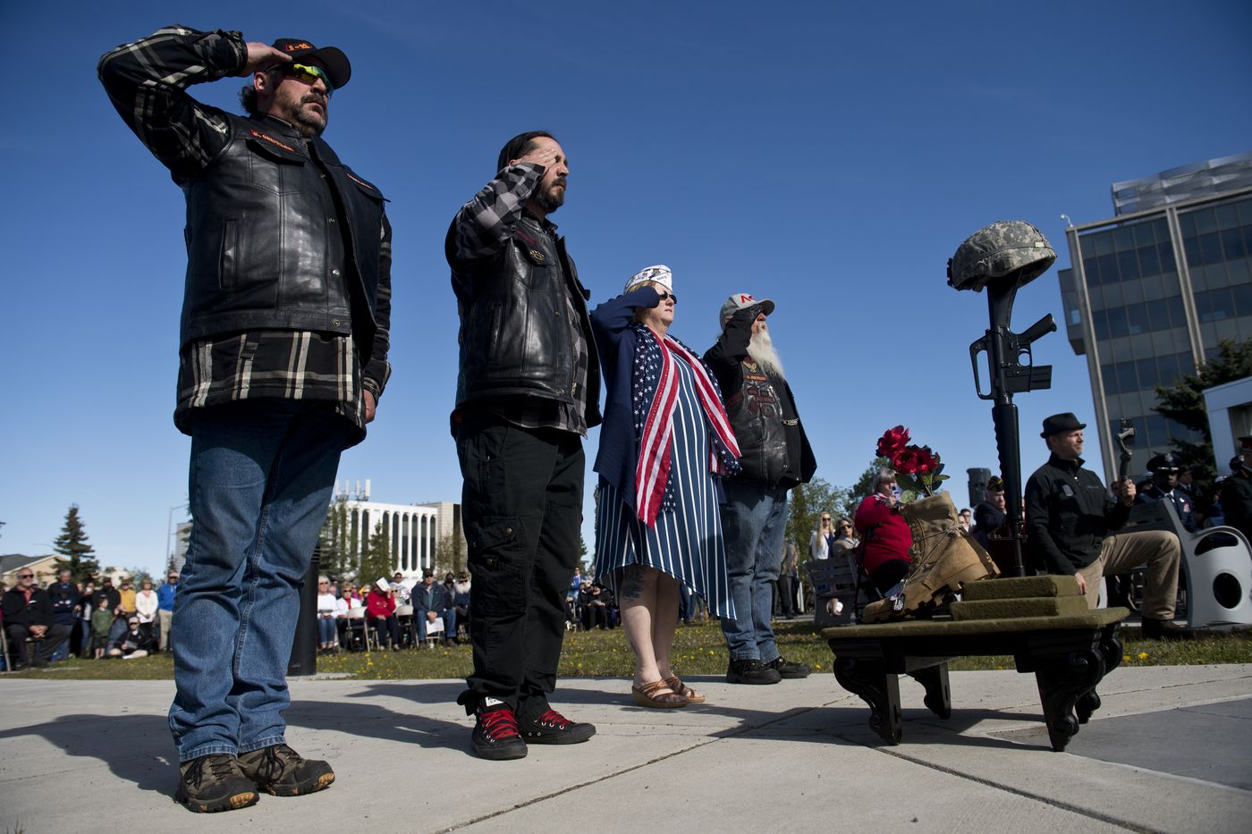 Members of the Alaska Vets Motorcycle Club present the Fallen Warrior ceremony at the Memorial Day event in Anchorage. (Marc Lester / ADN)