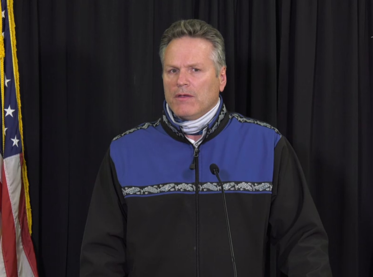 Gov. Mike Dunleavy addresses the COVID-19 emergency disaster declaration in a community briefing on Nov. 6, 2020. (Screengrab from video)