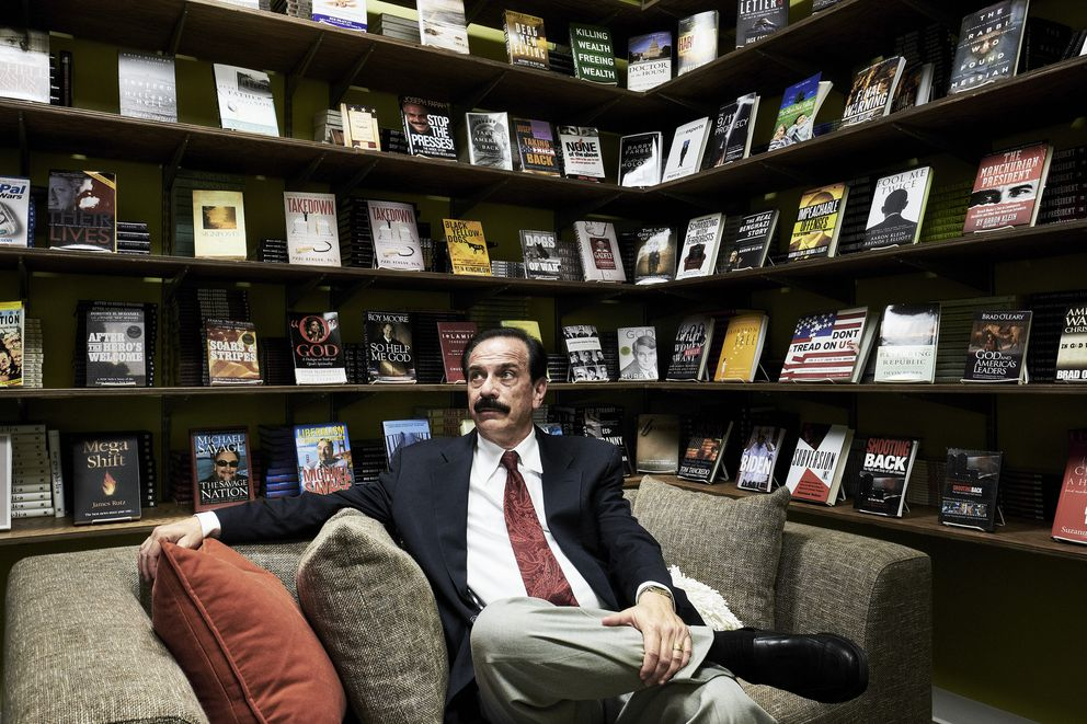 """Joseph Farah, an author and the owner of the conservative website WorldNetDaily who supports the idea President Barack Obama wasn't born in the U.S., at his offices in Chantilly, Va., June 27, 2016. Donald Trump once supported the claim by so-called birthers, but since the president released his birth certificate, the presumptive Republican nominee has rarely mentioned it publicly. """"This was a busy guy, this was a multibillionaire, and I was surprised that he was willing to spend that kind of time on it,"""" Farah said of Trump's interest in the subject in 2011. (T.J. Kirkpatrick/The New York Times)"""