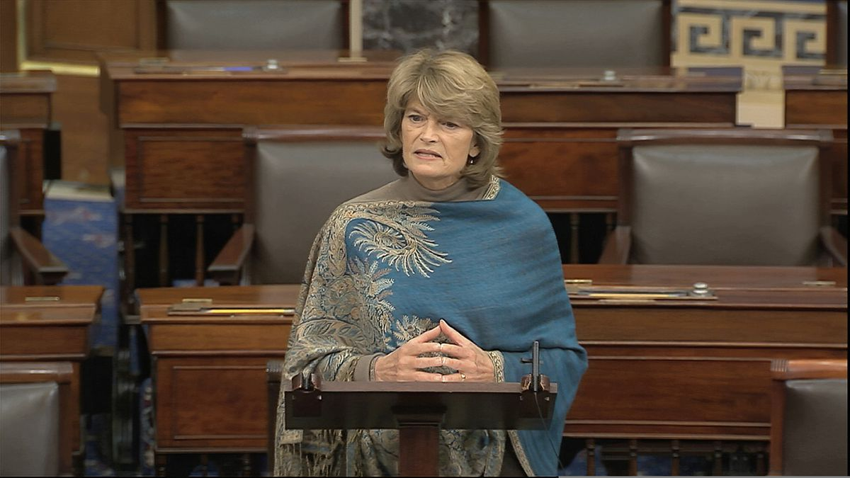 In this image from video, Sen. Lisa Murkowski, R-Alaska, speaks on the Senate floor about the impeachment trial against President Donald Trump at the U.S. Capitol in Washington, Monday, Feb. 3, 2020. The Senate will vote on the Articles of Impeachment on Wednesday afternoon. (Senate Television via AP)