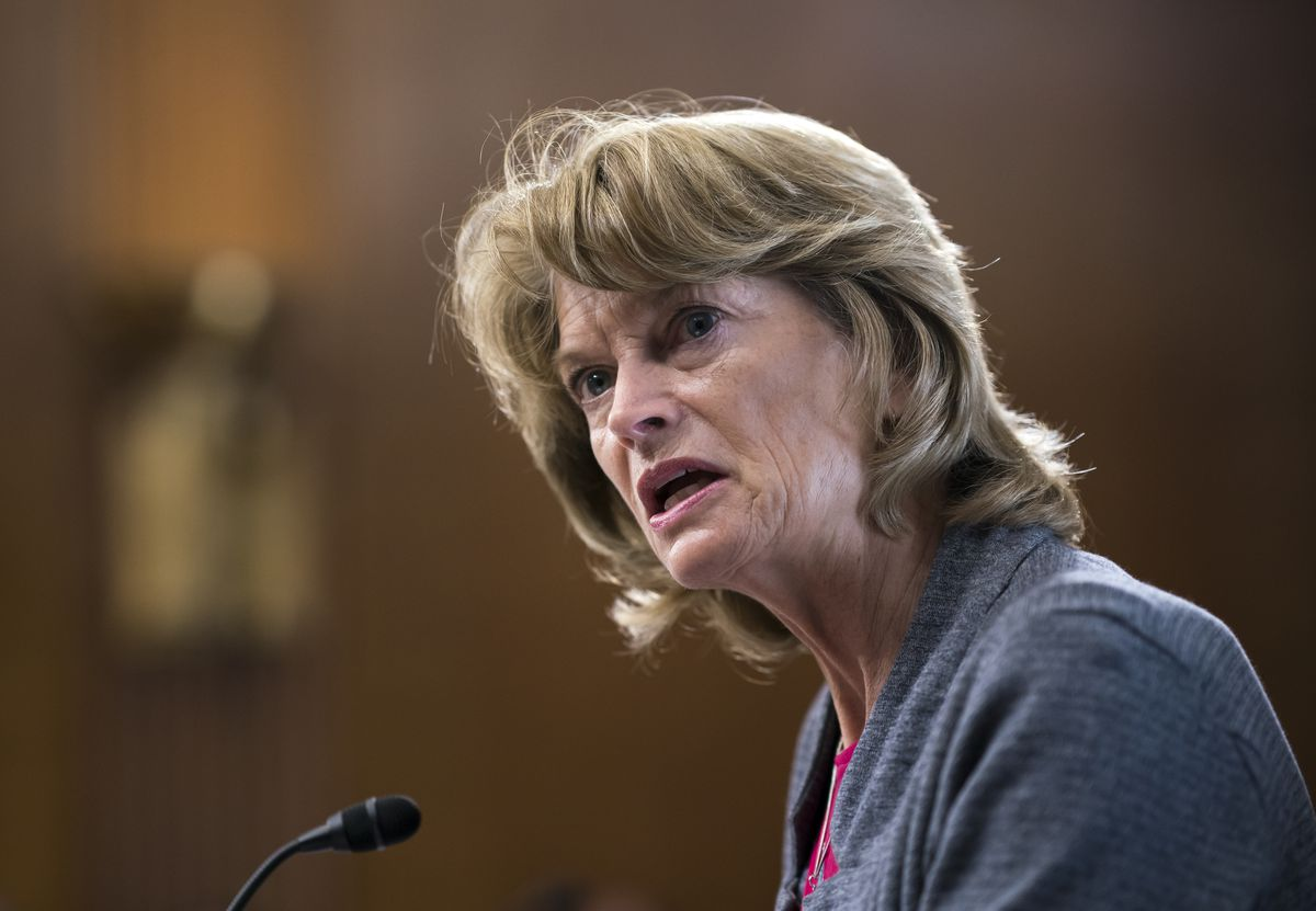 Sen. Lisa Murkowski, R-Alaska, speaks during a Senate Energy and Natural Resources Committee confirmation hearing for presidential appointees, on Capitol Hill in Washington, Tuesday, May 18, 2021. (AP Photo/J. Scott Applewhite)