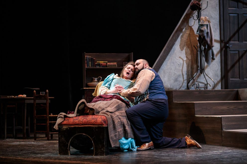 Mimi (Claire Kuttler) and Rodolfo (Peter Scott Drackley) in Anchorage Opera's 'La Boheme. ' (Photo by Denny Wells)