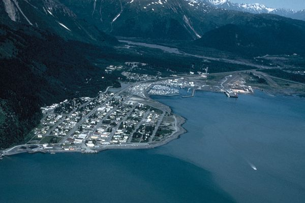 Downtown Seward, Alaska, is shown on the left, with the municipal airport on the right, at the head of Resurrection Bay in this undated photo. (U.S. Army Corps of Engineers via Wikimedia Commons)