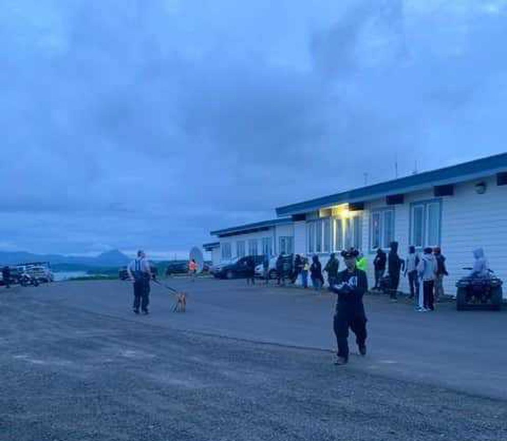 Sand Point residents gather after a tsunami warning late Tuesday, July 21, 2020. (Sand Point Department of Public Safety)