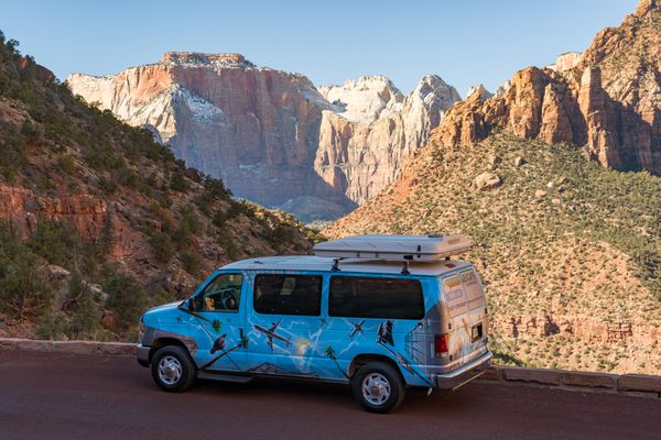 One of Escape Campervans' custom-painted vans (with roof-top sleeper) in Zion National Park in southern Utah. (Photo courtesy Escape Campervans)
