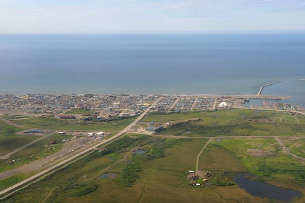 Aerial view of the Port of Nome and the city's harbor on June 28, 2019. (Bill Roth / ADN)