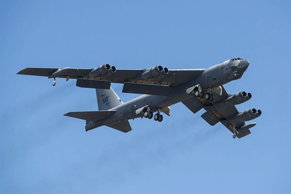 A B-52H Stratofortress takes off in February 2015 after being taken out of long-term storage. (Photo handout by Master Sgt. Greg Steele for the U.S. Air Force)