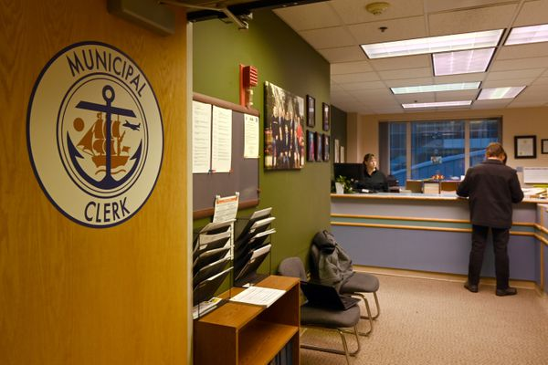 The Municipal Clerk's Office was mostly quiet at the last moment of the candidate filing period, Jan. 31, 2020. (Anne Raup / ADN)