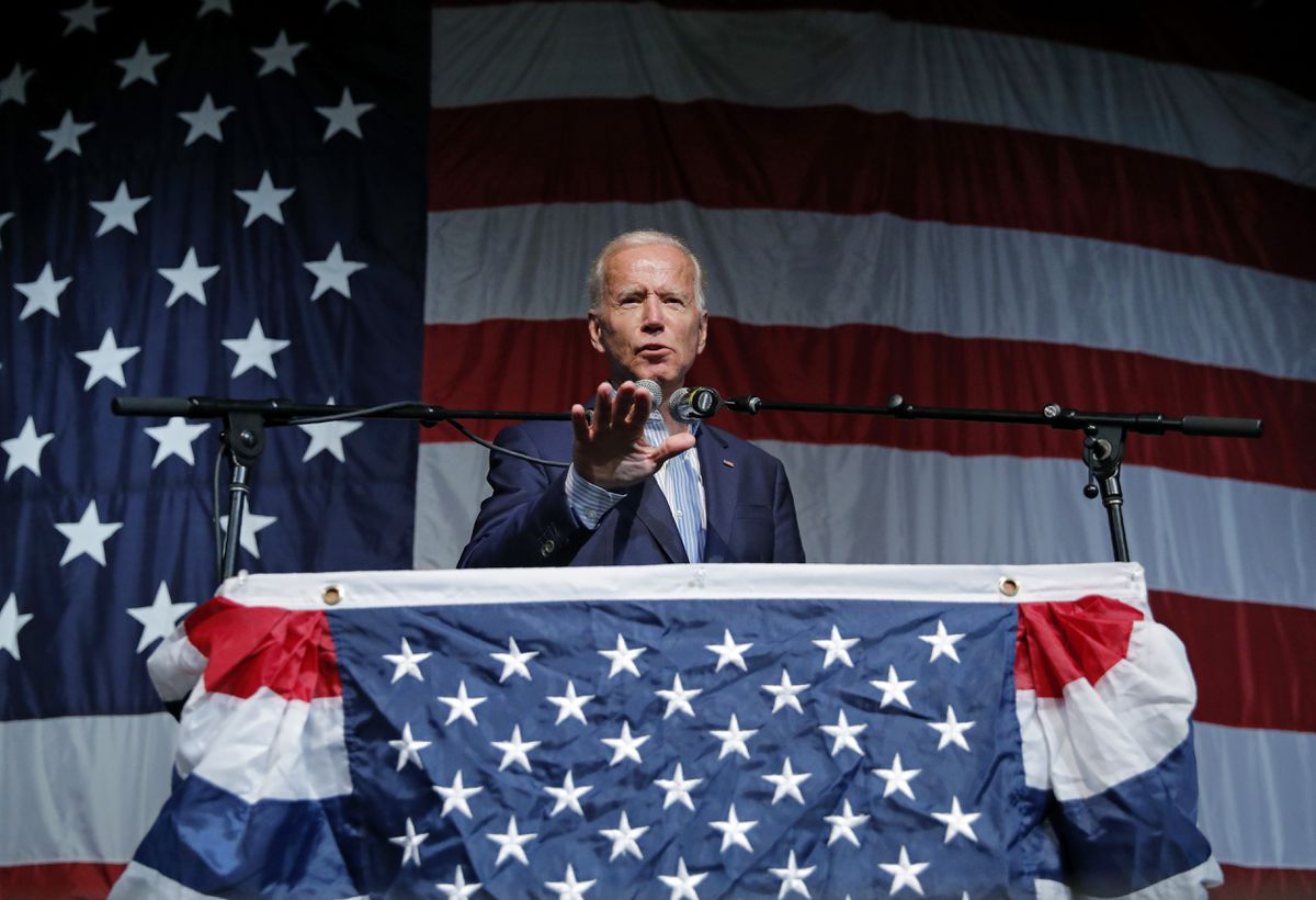 In this Aug. 9, 2019 photo, former Vice President and Democratic presidential candidate Joe Biden speaks at the Iowa Democratic Wing Ding at the Surf Ballroom, in Clear Lake, Iowa. (AP Photo/John Locher)