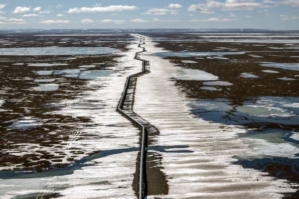 An oil pipeline stretches across the landscape outside Prudhoe Bay in North Slope Borough. MUST CREDIT: Washington Post photo by Bonnie Jo Mount