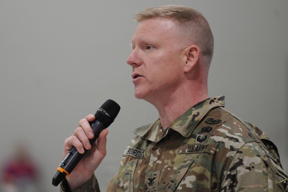 Col. Phillip Borders, commander of the U.S. Army Corps of Engineers - Alaska District, speaks to people gathered at the public hearing for the Pebble Limited Partnership draft environmental impact statement at the Dena'ina Center on Tuesday. (Bill Roth / ADN)