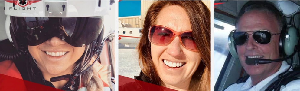 Guardian Flight crew members Stacie Morse (left), Margaret Langston and pilot Patrick Coyle were aboard an air ambulance that apparently crashed near Kake on Jan. 29 2019. (Photos courtesy Guardian Flight)