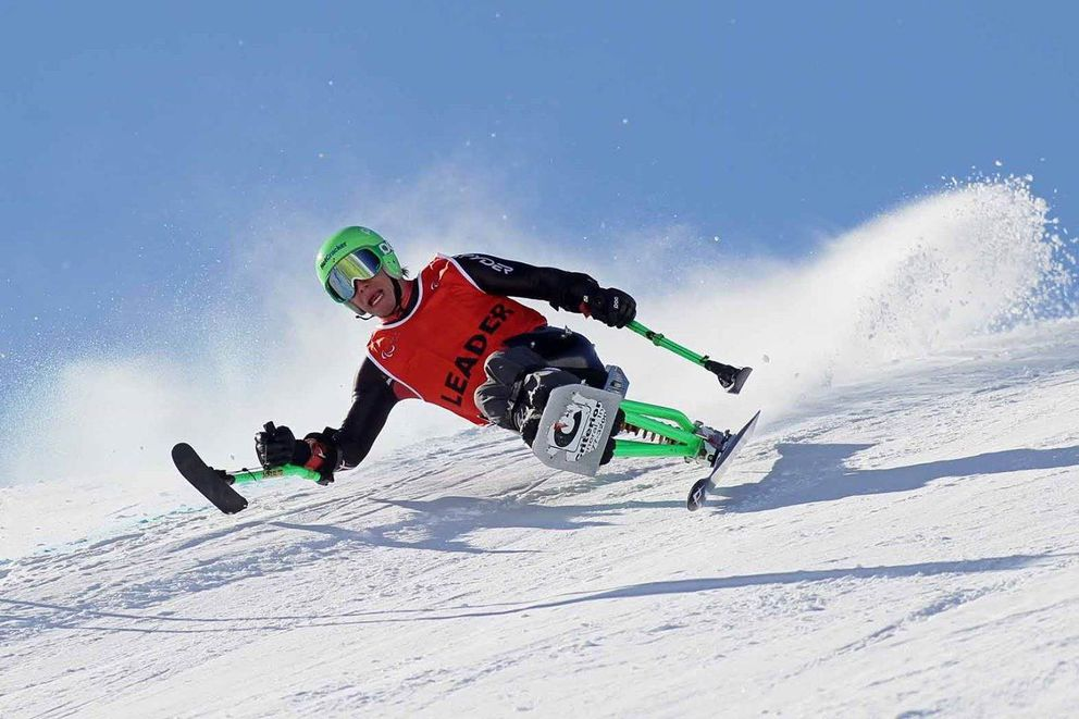 Andrew Kurka, shown here in a 2014 World Cup downhill race in Tignes, France, won three medals at last year's World Championships. (International Paralympic Committee photo)